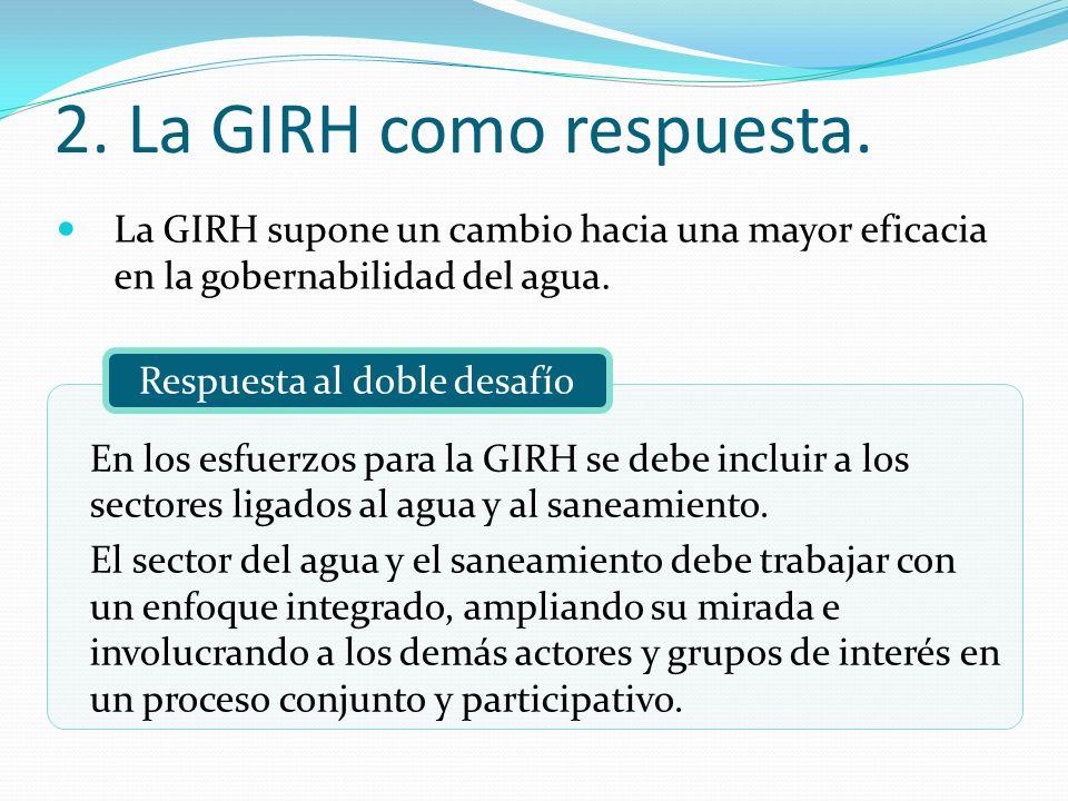 2. La GIRH como respuesta. La GIRH supone un cambio hacia una mayor eficacia en la gobernabilidad del agua.