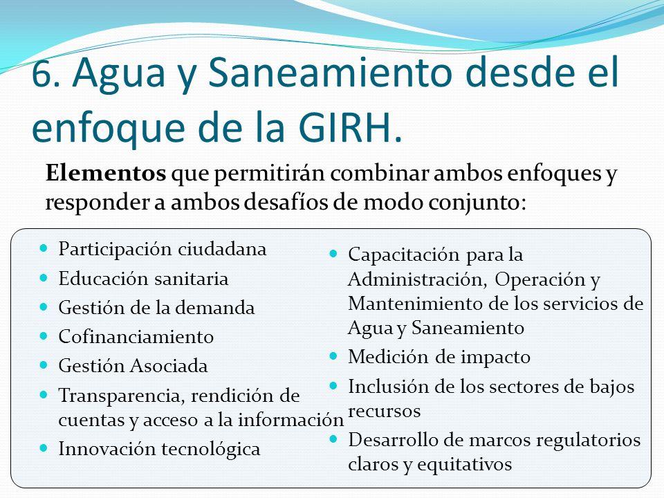 6. Agua y Saneamiento desde el enfoque de la GIRH.