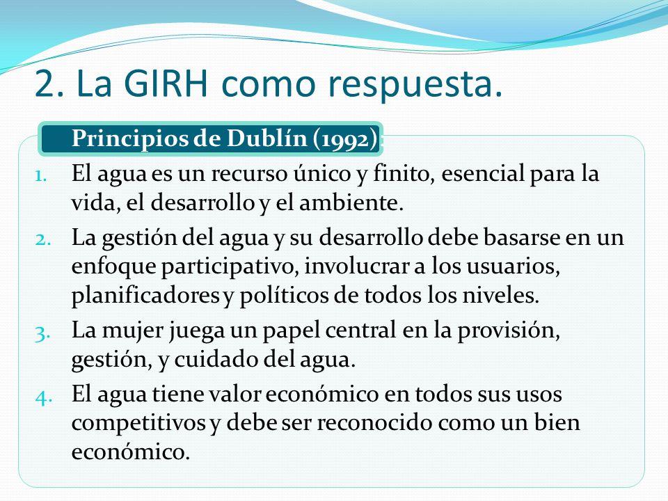 2. La GIRH como respuesta. Principios de Dublín (1992):