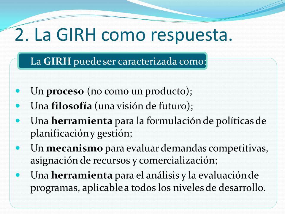 2. La GIRH como respuesta. La GIRH puede ser caracterizada como: