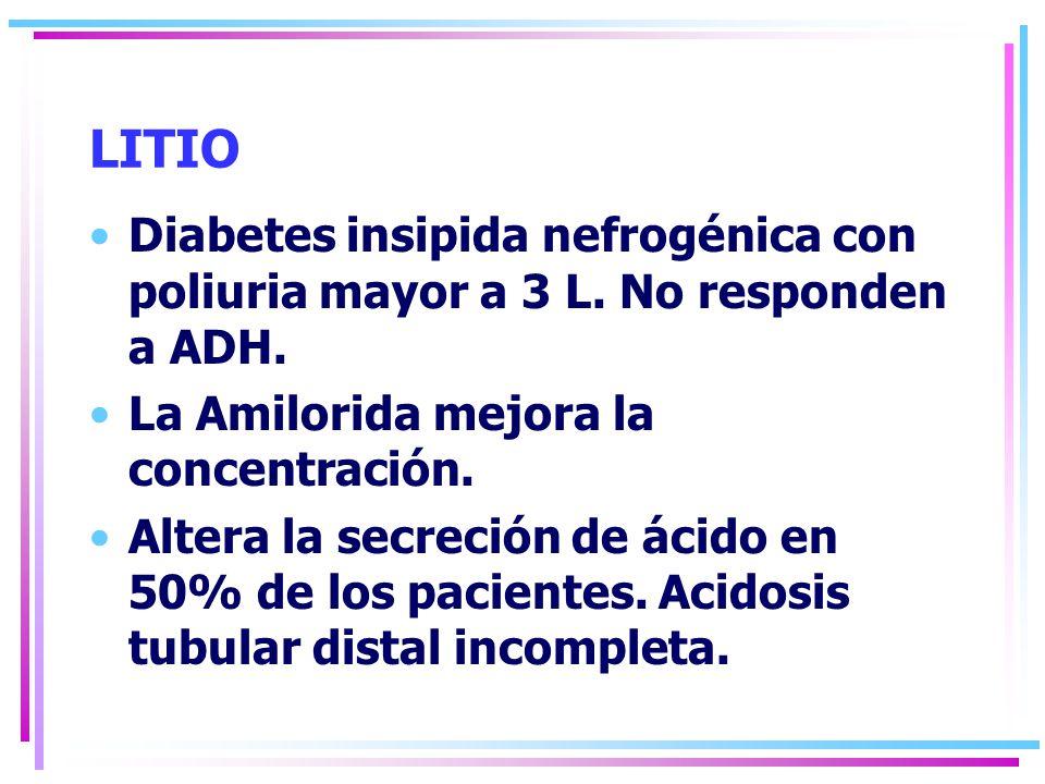 LITIO Diabetes insipida nefrogénica con poliuria mayor a 3 L. No responden a ADH. La Amilorida mejora la concentración.
