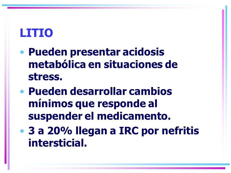 LITIO Pueden presentar acidosis metabólica en situaciones de stress.
