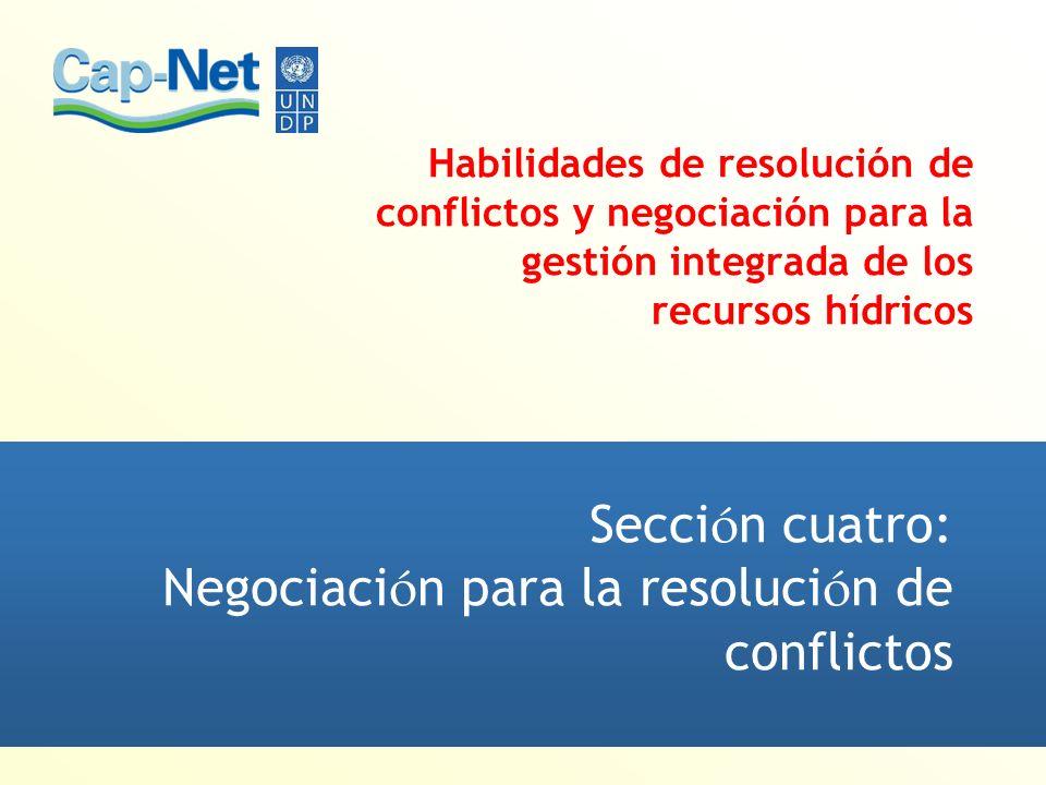 Sección cuatro: Negociación para la resolución de conflictos