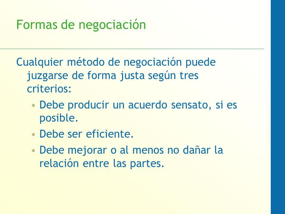 Formas de negociación Cualquier método de negociación puede juzgarse de forma justa según tres criterios: