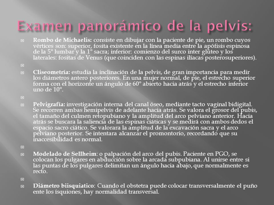 Examen panorámico de la pelvis: