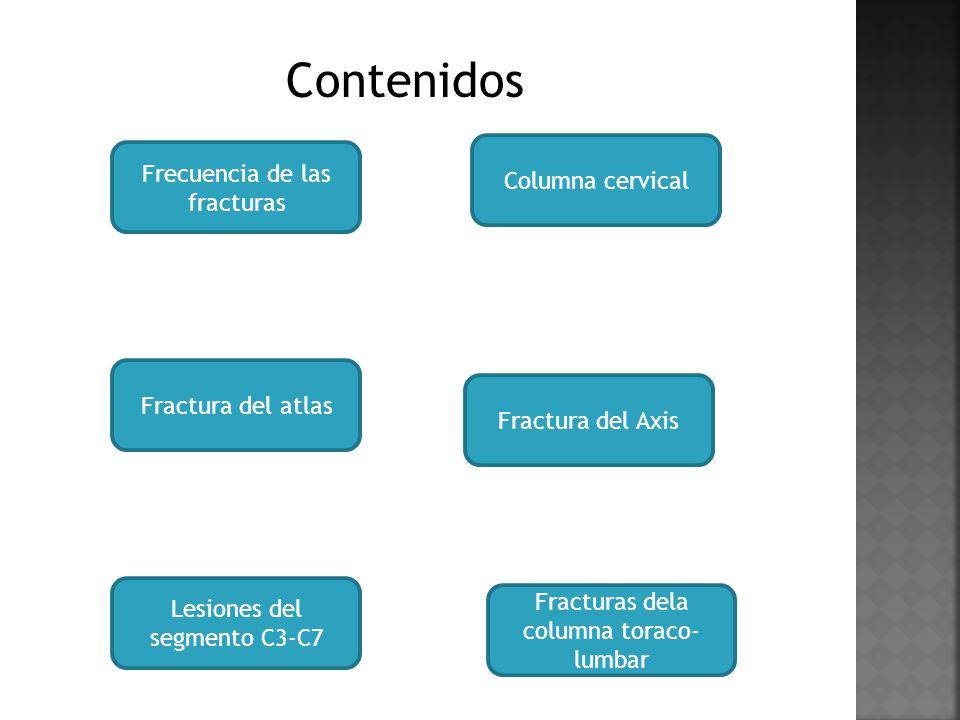 Contenidos Frecuencia de las fracturas Columna cervical