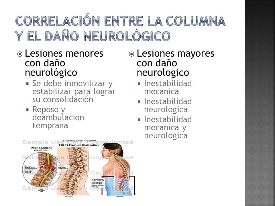 Correlación entre la columna y el daño neurológico