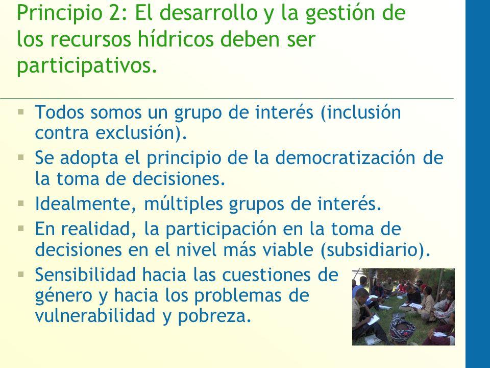 Principio 2: El desarrollo y la gestión de los recursos hídricos deben ser participativos.