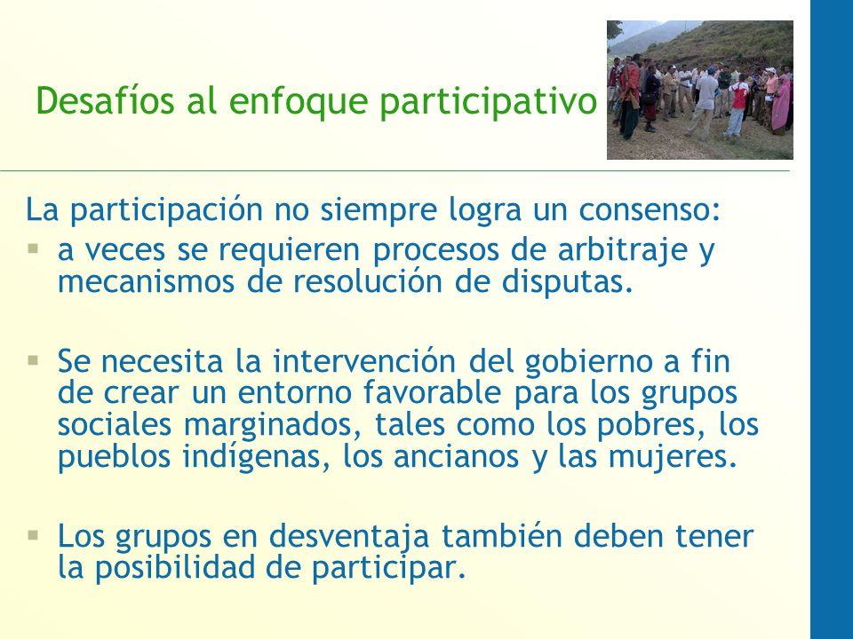 Desafíos al enfoque participativo