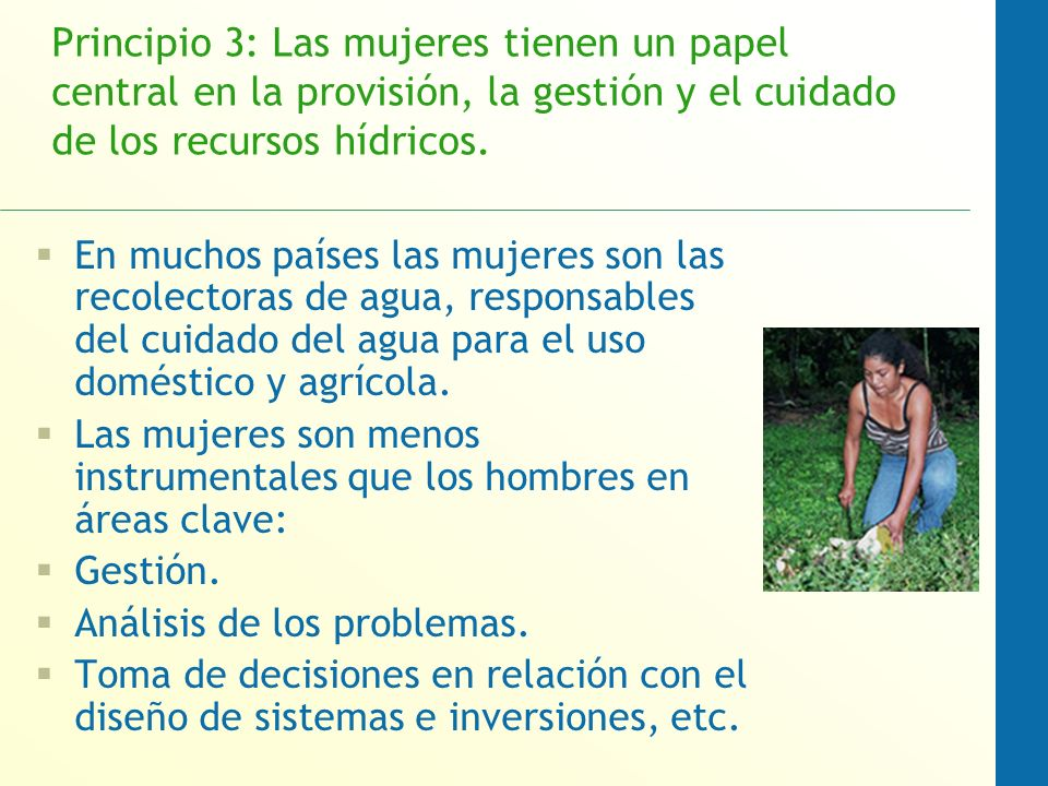 Principio 3: Las mujeres tienen un papel central en la provisión, la gestión y el cuidado de los recursos hídricos.