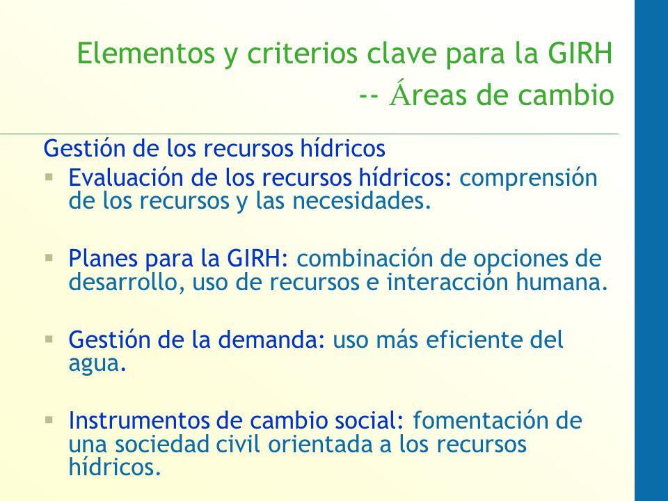 Elementos y criterios clave para la GIRH -- Áreas de cambio