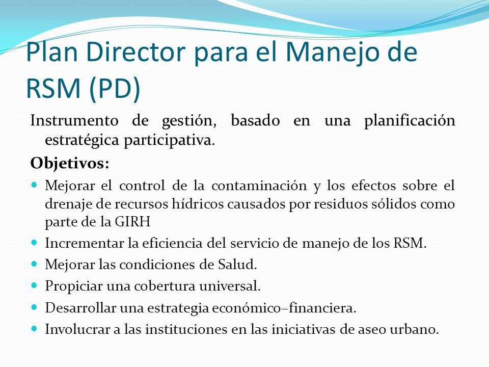 Plan Director para el Manejo de RSM (PD)