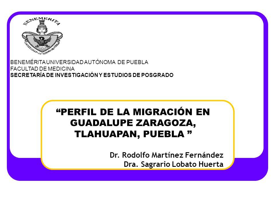 PERFIL DE LA MIGRACIÓN EN GUADALUPE ZARAGOZA, TLAHUAPAN, PUEBLA