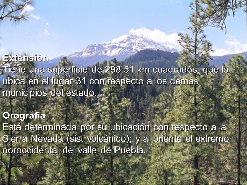 Extensión Tiene una superficie de 298.51 km cuadrados, que lo ubica en el lugar 31 con respecto a los demás municipios del estado.
