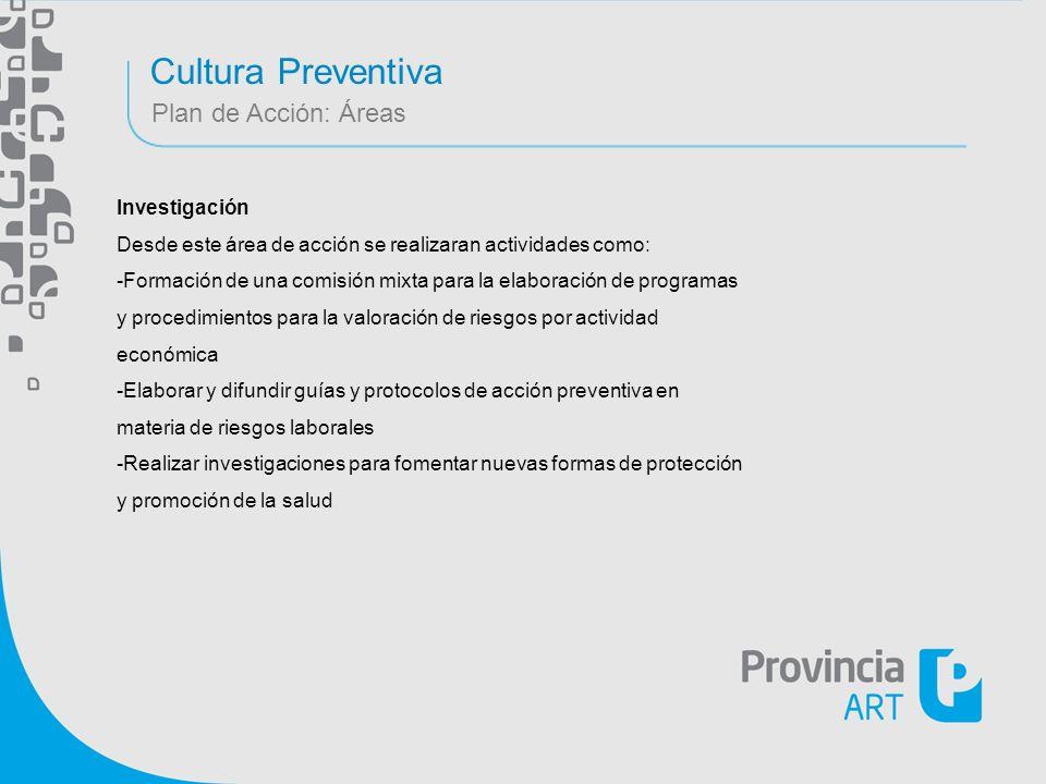Cultura Preventiva Plan de Acción: Áreas Investigación