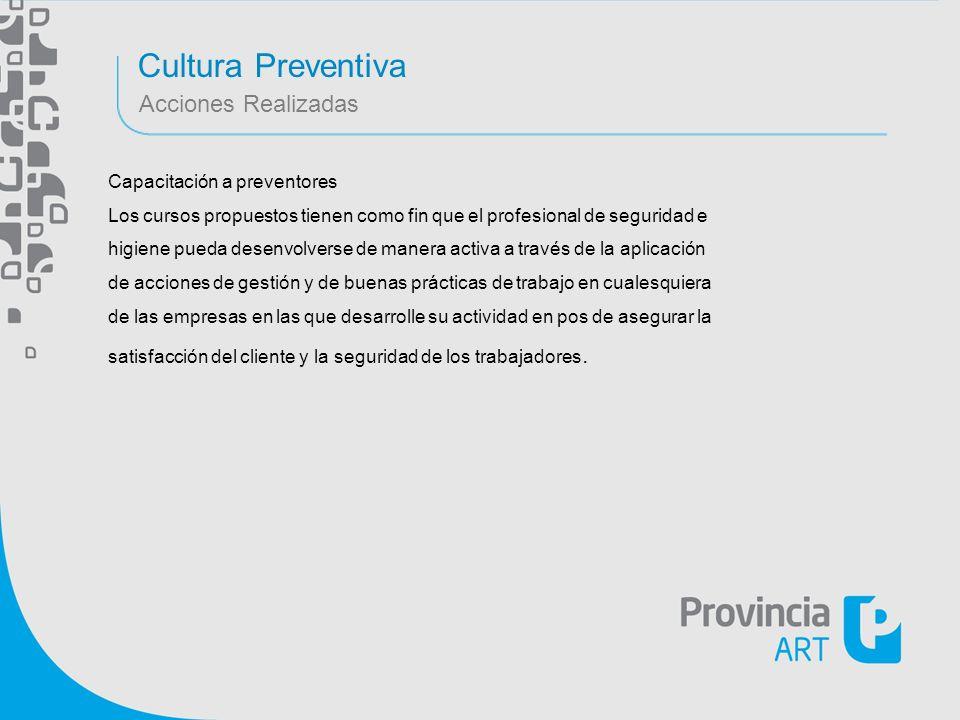 Cultura Preventiva Acciones Realizadas Capacitación a preventores