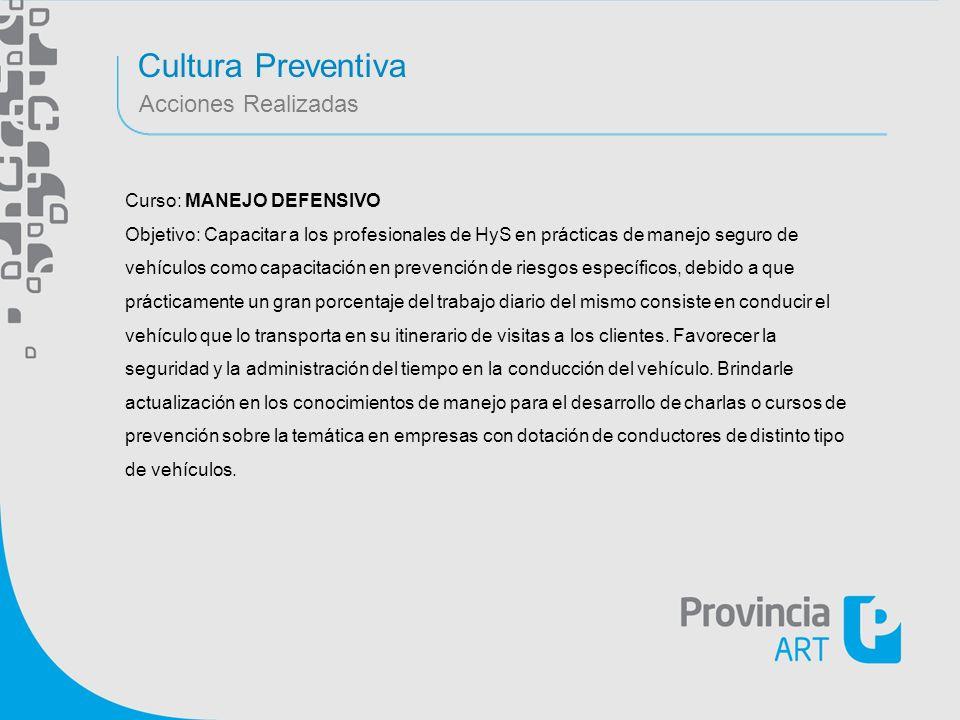 Cultura Preventiva Acciones Realizadas Curso: MANEJO DEFENSIVO