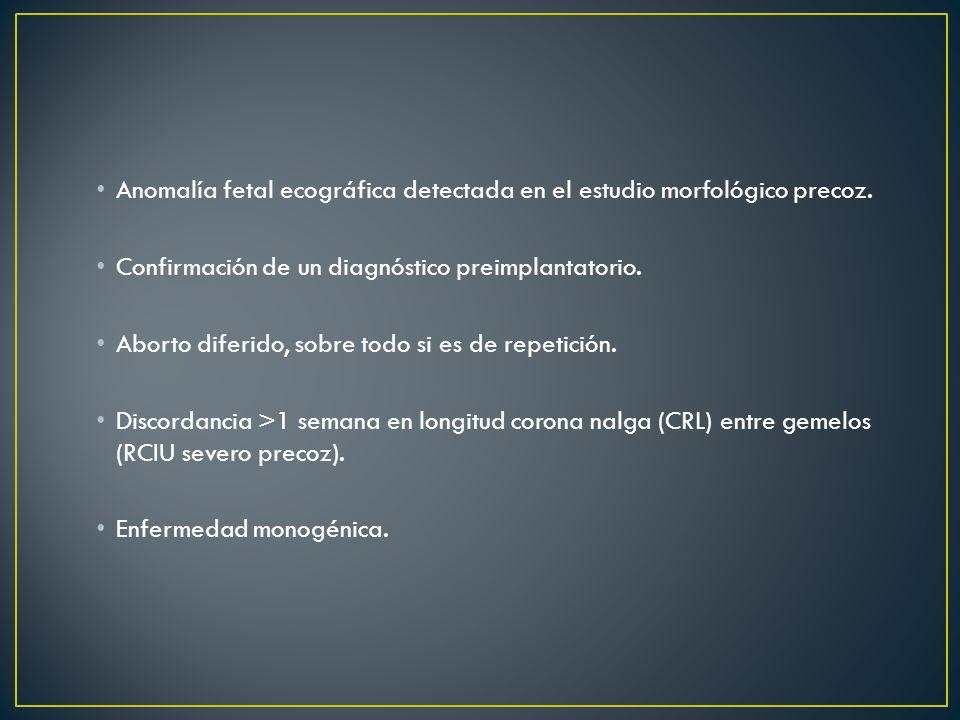 Anomalía fetal ecográfica detectada en el estudio morfológico precoz.