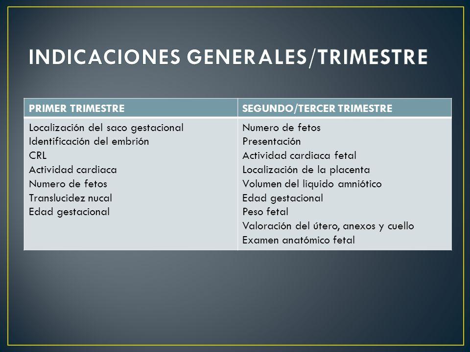 INDICACIONES GENERALES/TRIMESTRE