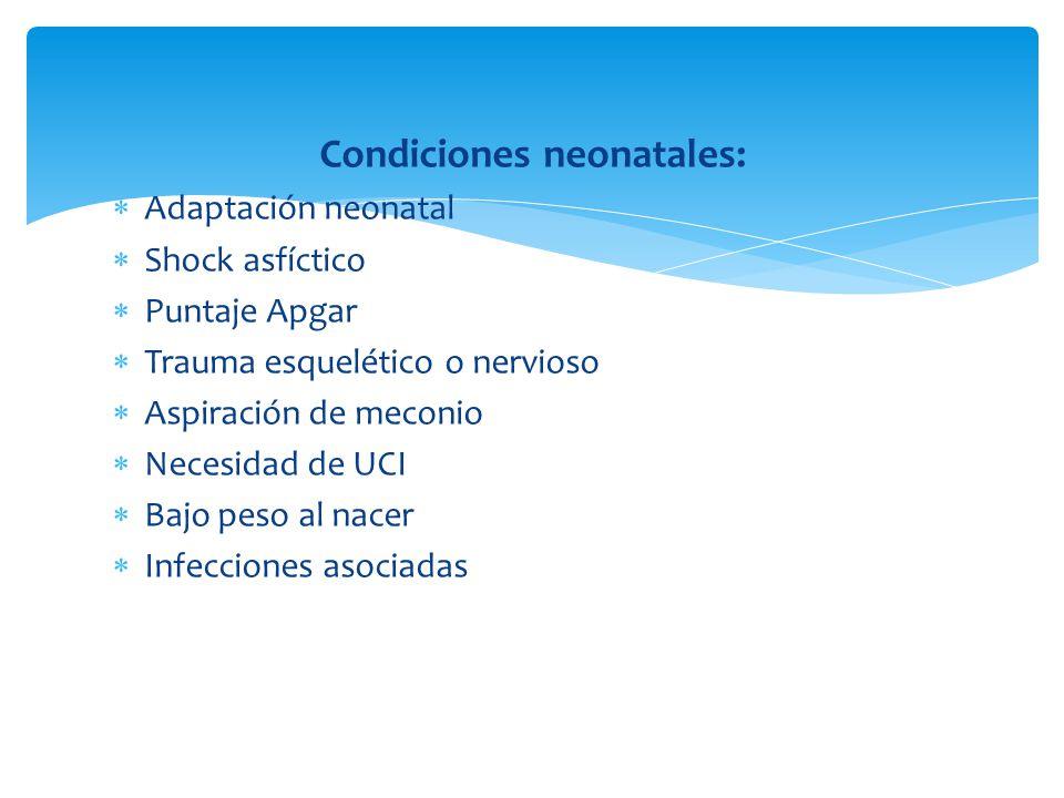 Condiciones neonatales:
