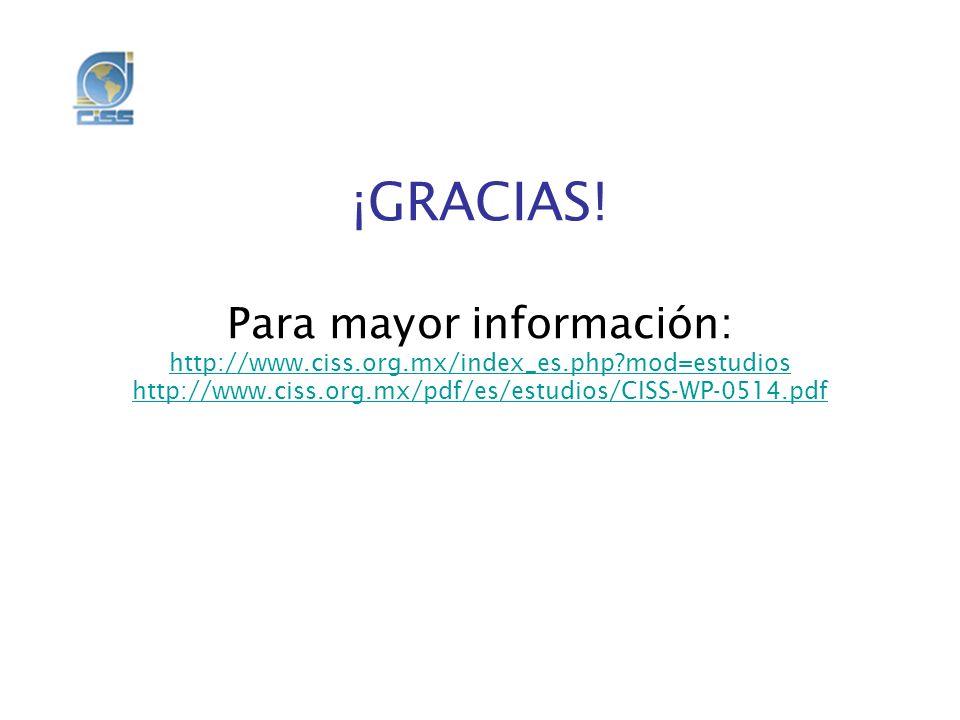 ¡GRACIAS. Para mayor información: http://www. ciss. org. mx/index_es