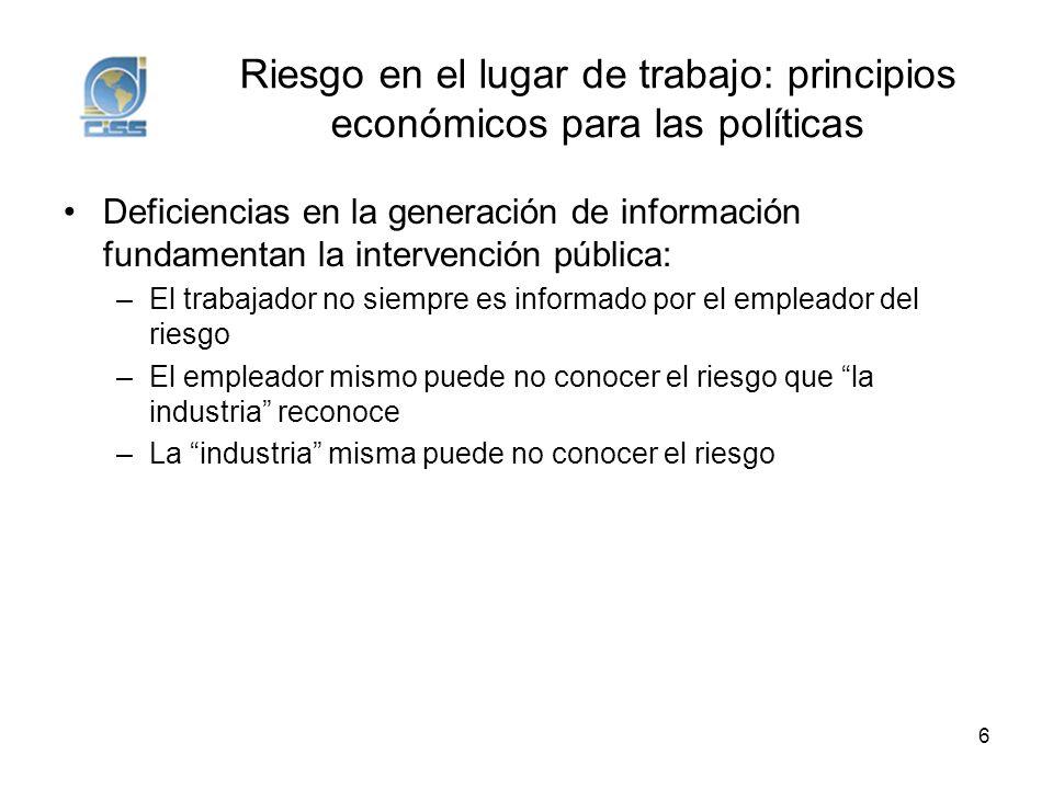 Riesgo en el lugar de trabajo: principios económicos para las políticas
