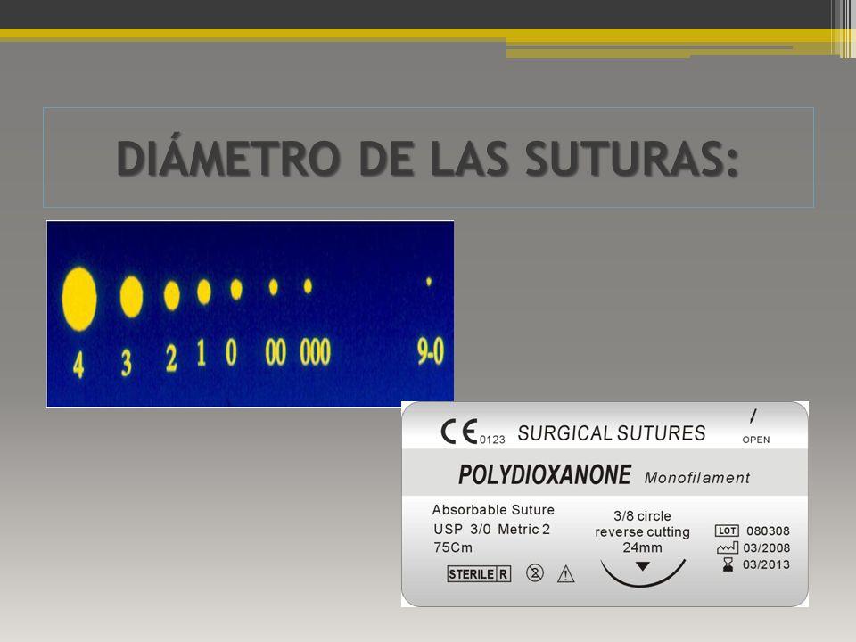 DIÁMETRO DE LAS SUTURAS: