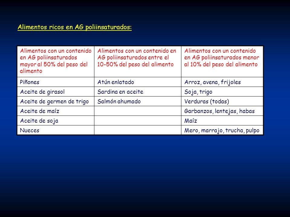 Alimentos ricos en AG poliinsaturados: