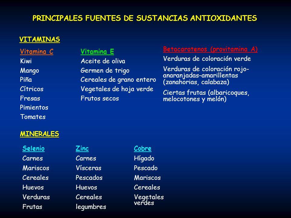PRINCIPALES FUENTES DE SUSTANCIAS ANTIOXIDANTES