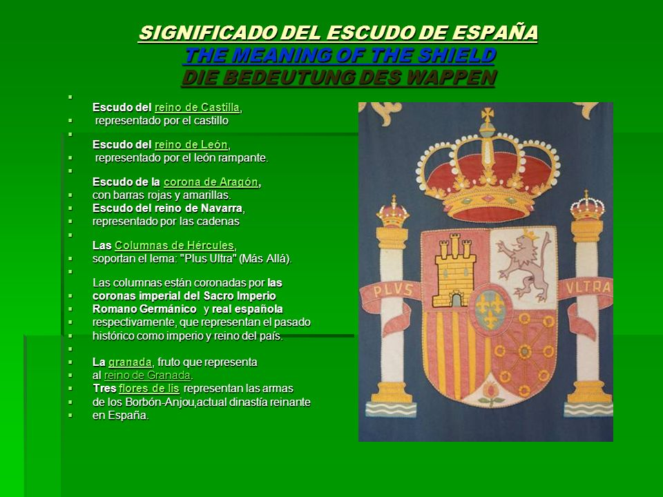 SIGNIFICADO DEL ESCUDO DE ESPAÑA THE MEANING OF THE SHIELD DIE BEDEUTUNG DES WAPPEN