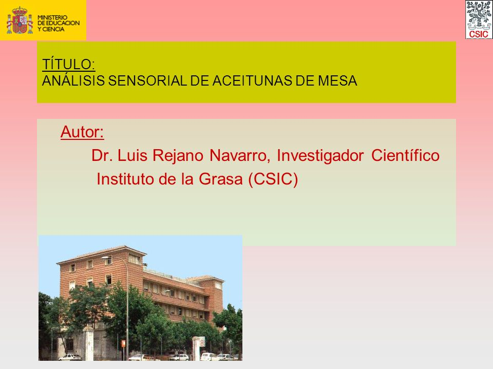 TÍTULO: ANÁLISIS SENSORIAL DE ACEITUNAS DE MESA