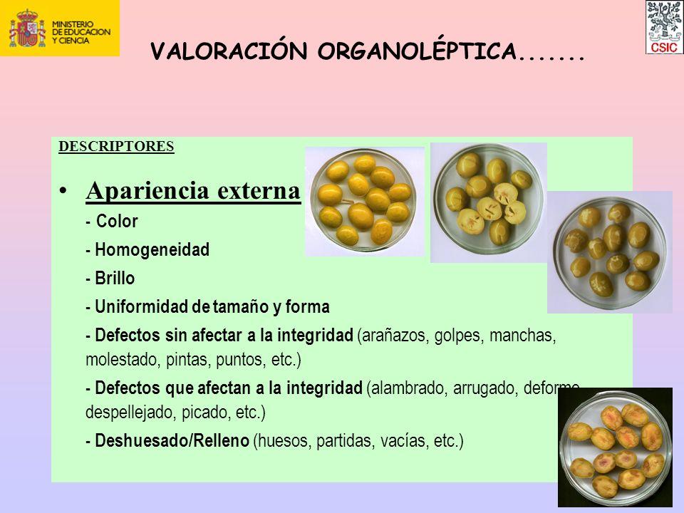 Apariencia externa VALORACIÓN ORGANOLÉPTICA....... - Homogeneidad
