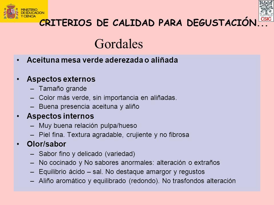 Gordales CRITERIOS DE CALIDAD PARA DEGUSTACIÓN...