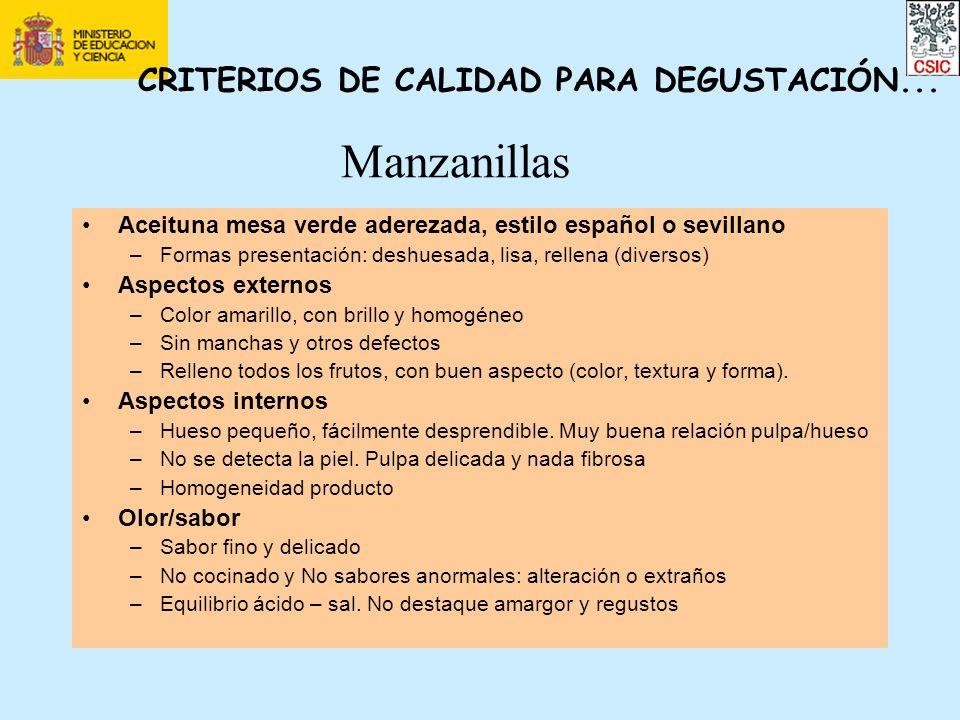 Manzanillas CRITERIOS DE CALIDAD PARA DEGUSTACIÓN...