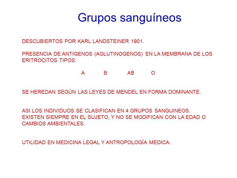 Grupos sanguíneos DESCUBIERTOS POR KARL LANDSTEINER 1901.