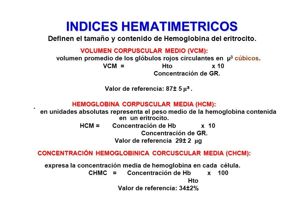 INDICES HEMATIMETRICOS Definen el tamaño y contenido de Hemoglobina del eritrocito.