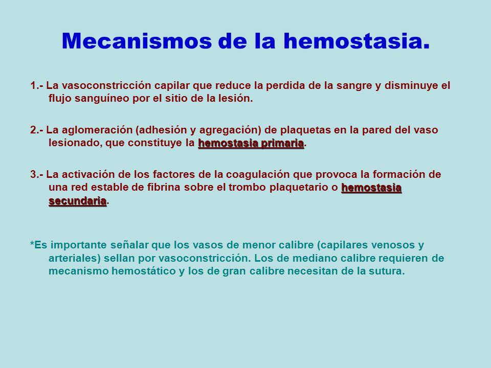 Mecanismos de la hemostasia.