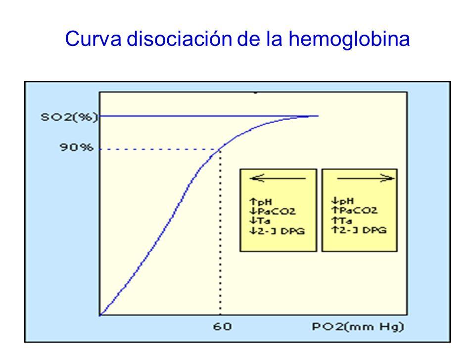 Curva disociación de la hemoglobina