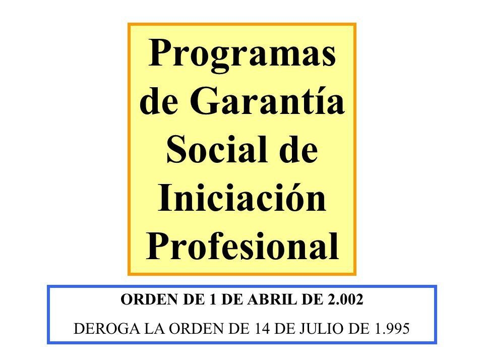 Programas de Garantía Social de Iniciación Profesional
