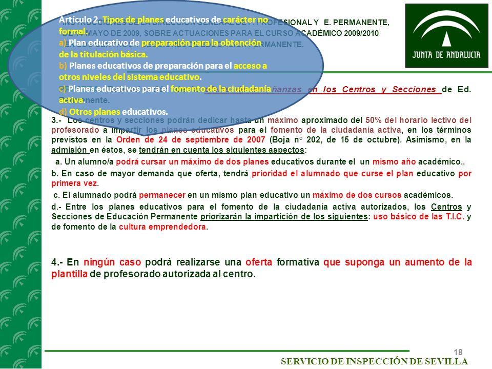 Artículo 2. Tipos de planes educativos de carácter no formal.