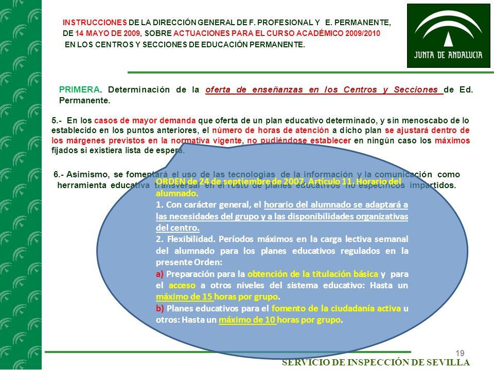 ORDEN de 24 de septiembre de 2007, Artículo 11. Horario del alumnado.