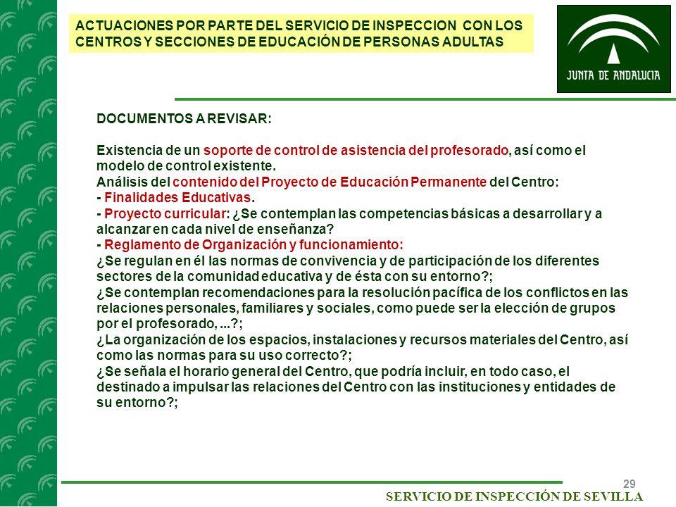 ACTUACIONES POR PARTE DEL SERVICIO DE INSPECCION CON LOS CENTROS Y SECCIONES DE EDUCACIÓN DE PERSONAS ADULTAS