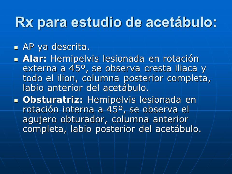 Rx para estudio de acetábulo: