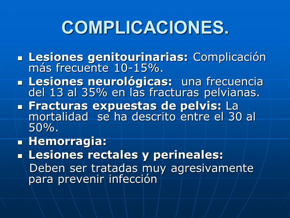 COMPLICACIONES. Lesiones genitourinarias: Complicación más frecuente 10-15%.