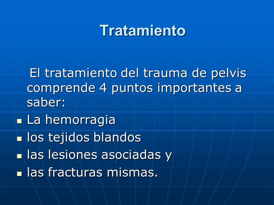Tratamiento El tratamiento del trauma de pelvis comprende 4 puntos importantes a saber: La hemorragia.
