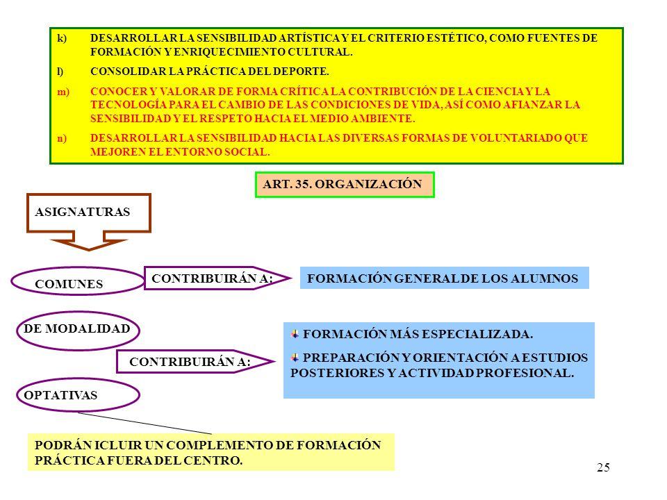 FORMACIÓN GENERAL DE LOS ALUMNOS COMUNES
