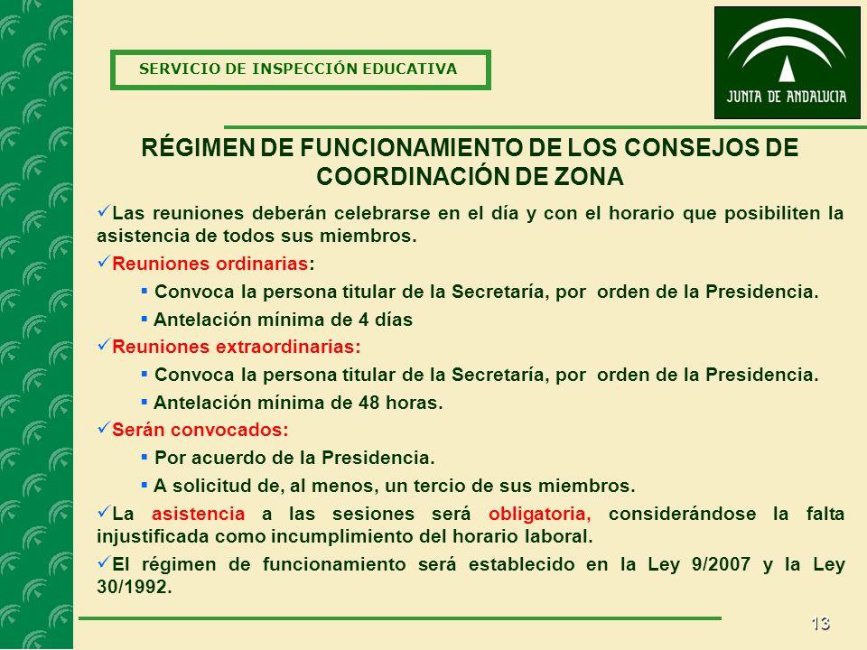 RÉGIMEN DE FUNCIONAMIENTO DE LOS CONSEJOS DE COORDINACIÓN DE ZONA