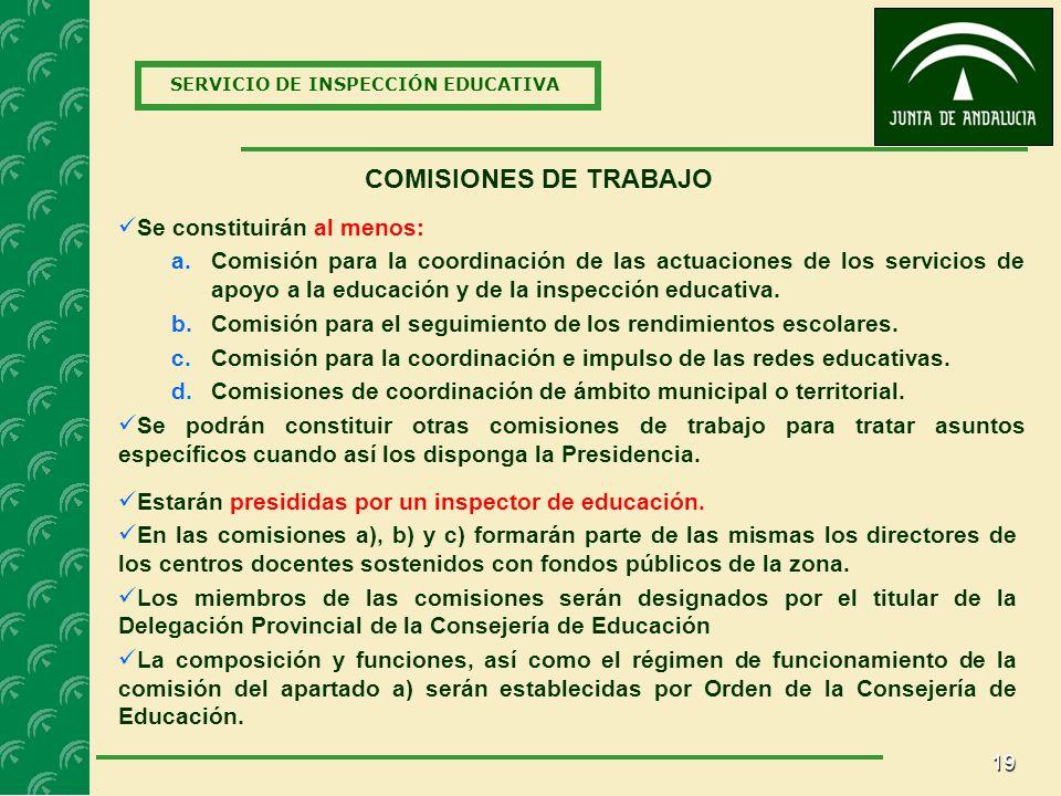COMISIONES DE TRABAJO Se constituirán al menos: