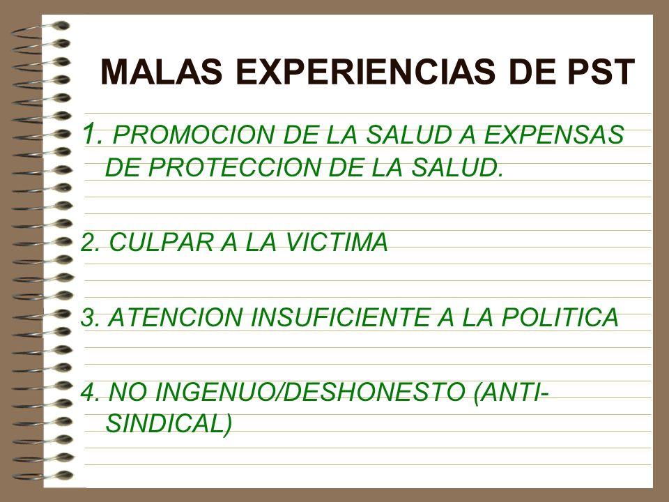 MALAS EXPERIENCIAS DE PST
