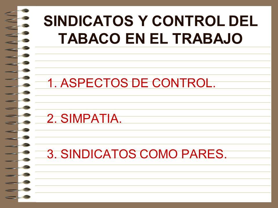 SINDICATOS Y CONTROL DEL TABACO EN EL TRABAJO